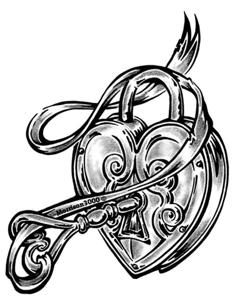 coloring page lock and key heart lock by morrison3000 on deviantart