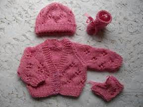 Knitting pattern no 15 premature lacy cardigan hat amp bootee set