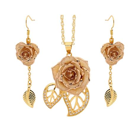 rose themed jewellery white matched set in 24k gold leaf theme glazed rose