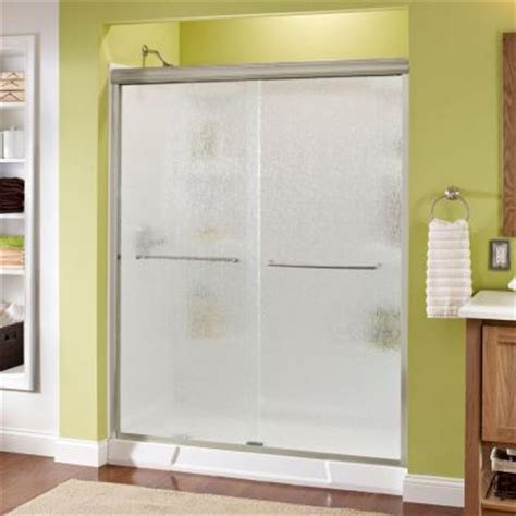 Delta Shower Door Delta Simplicity 59 3 8 In X 70 In Bypass Sliding Shower Door In Brushed Nickel With Semi