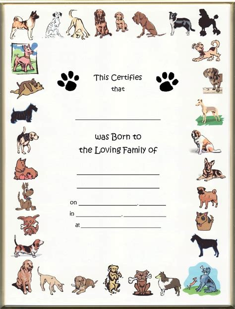 puppy birth certificate template free puppy birth certificates anuvrat info