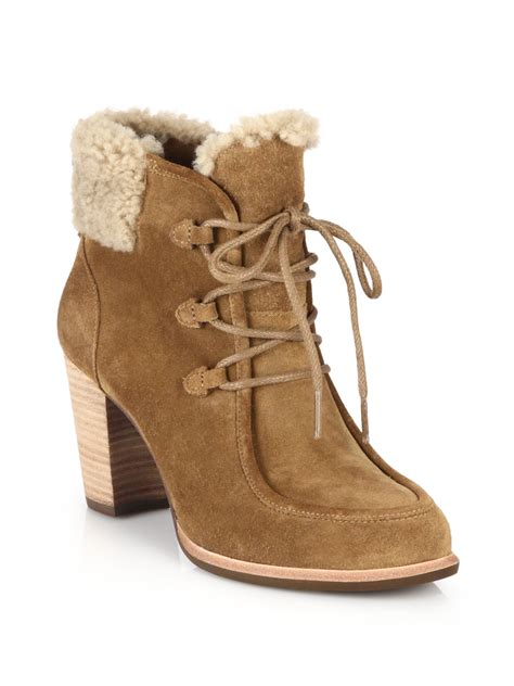 ugg analise shearling and suede ankle boots in lyst