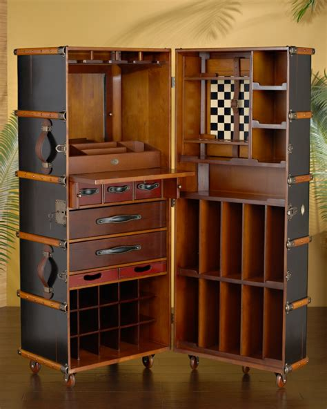 tommy bahama barware black steamer trunk bar