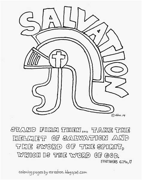 Helmet Of Salvation Coloring Page coloring pages for by mr adron the helmet of