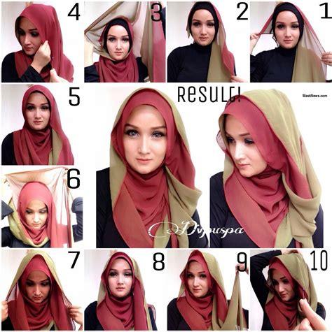 tutorial hijab layer sing beautiful double layer hijab tutorial style hunt world