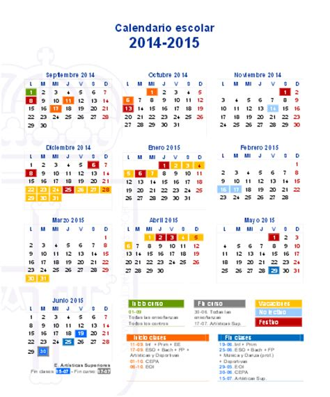 Calendario Escolar Madrid 2014 15 Primaria Calendario Escolar 2014 15 Madrid Imagui