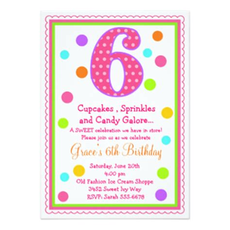 6 Year Birthday Card Sayings 6th Birthday Invitations Announcements Zazzle