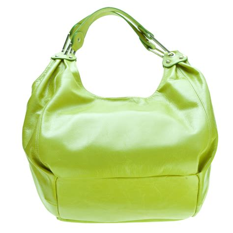 cosette italian made lime green glazed leather designer