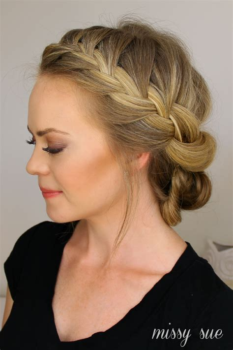 how to roll front of hair tuck and cover french braid half with a bun hair