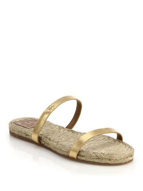 Wedges Selop Cv 05 Gold burch metallic leather espadrille slide sandals in gold lyst