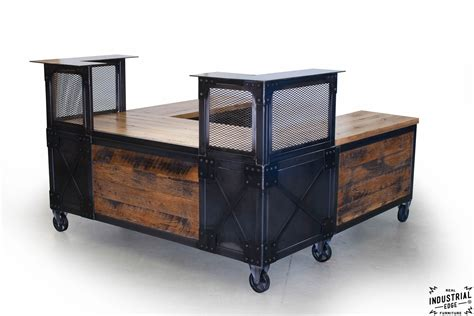 Industrial Reception Desk Reclaimed Wood Steel Reception Desk Real Industrial Edge Furniture Custom Industrial