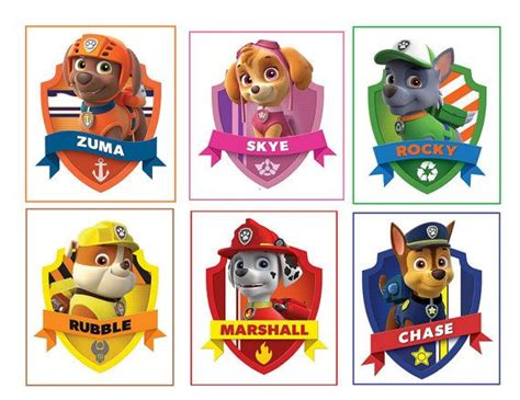 paw patrol names 6 paw patrol stickers favors gifts by stickertime101 on etsy 2 98