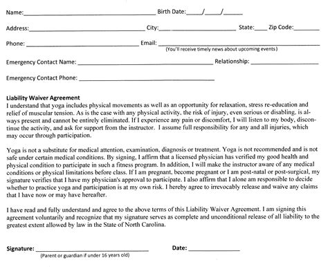 waiver agreement template waiver form template waiver pg2