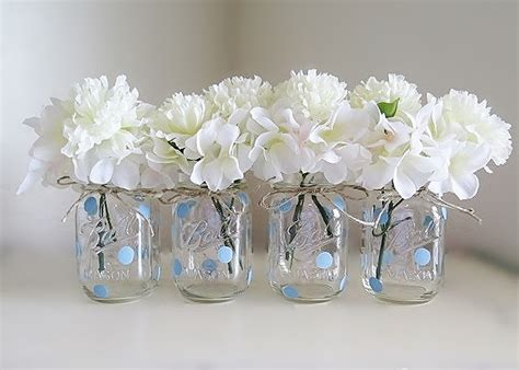 blue polka dot jar centerpieces baby shower jars