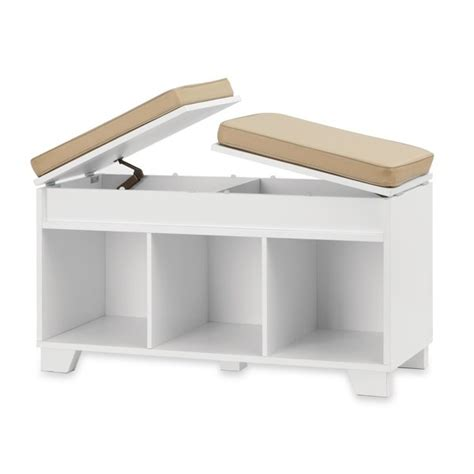 Real Simple 174 Split Top Bench Storage Unit In White