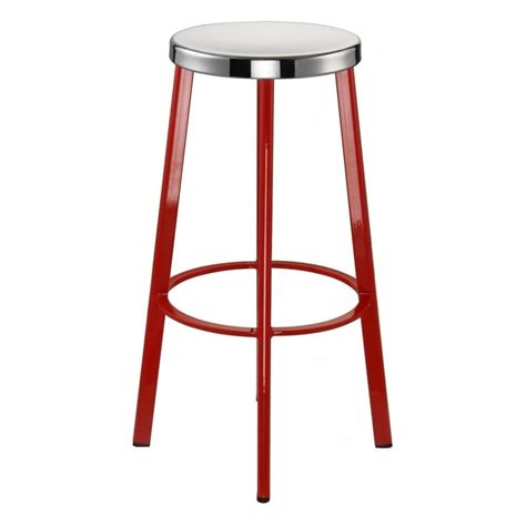 all metal bar stools buy red contemporary metal bar stool with circular steel seat