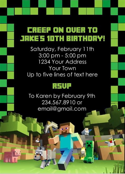 printable invitation minecraft minecraft party invitation editable partygamesplus