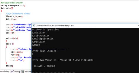 how to write program on dml operations using pl sql c program for arithmetic operations using switch case