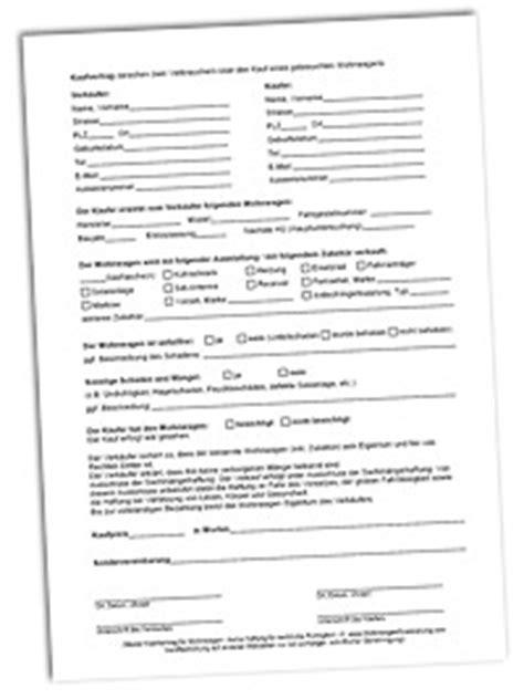 Mobile De Musterkaufvertrag by Vordruck F 252 R Wohnwagen Kaufvertrag Kostenlos Zum Download