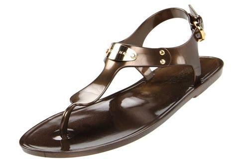 michael kors plate jelly sandals bronze s michael kors mk plate jelly flat sandal
