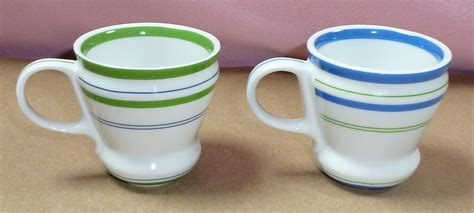 birdsvintageemporium starbucks white open handle set of starbucks set of 2 blue green stripe espresso coffee