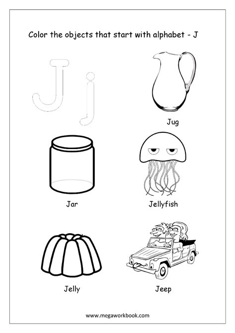 color that starts with the letter j free worksheets alphabet picture coloring