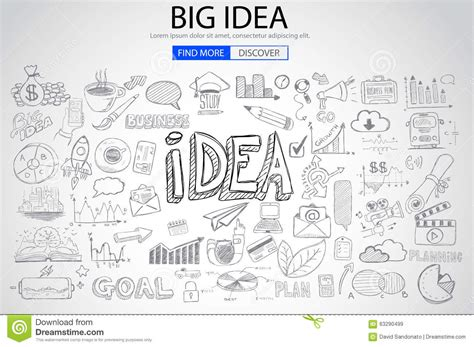 design thinking brainstorming techniques big idea concept with doodle design style stock vector