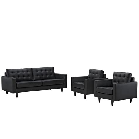 Empress Modern 3pc Button Tufted Leather Sofa And Armchair Tufted Leather Sofa Set