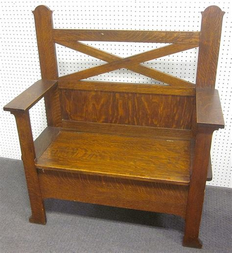 tall storage bench antique mission oak bench with storage 48 quot tall at back 41 quot
