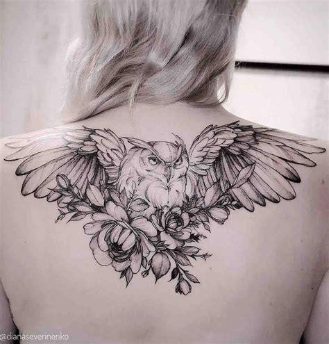 owl back tattoo owl tattoos with flowers owl and tatoo