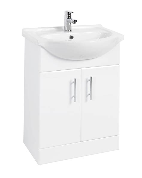 Beo 550mm Double Door Vanity Unit And Basin High Gloss White