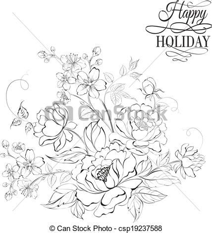vector of flower bouquet of peony and sakura flowers