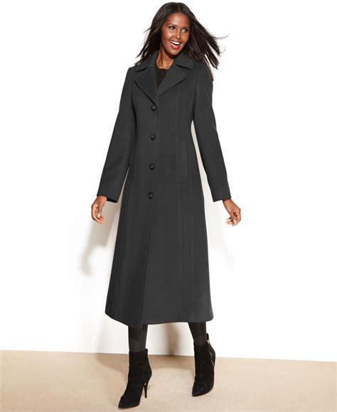 Maxi Sovia Calvin klein wool blend maxi walker coat in gray lyst