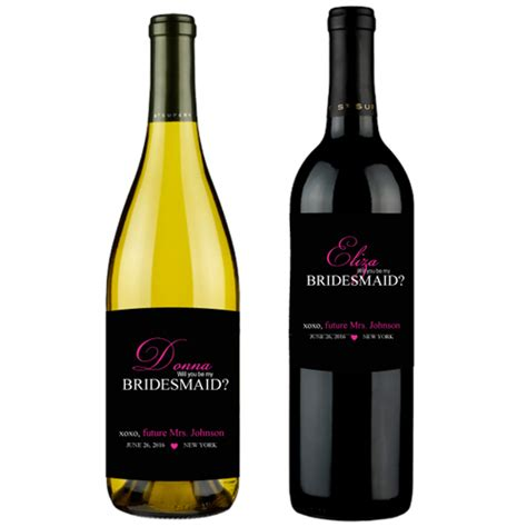 Be My Bridesmaid Wine Label will you be my bridesmaid personalized wine labels 6 pcs