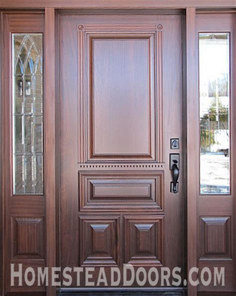 solid mahogany custom made front door with sidelites