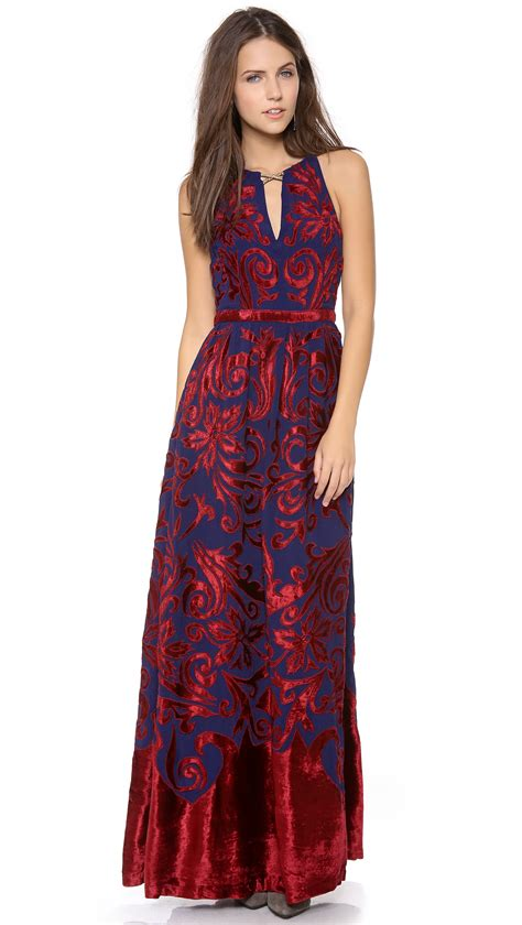 Free People Hedgemaze Maxi Dress in Red (Indigo Combo)   Lyst