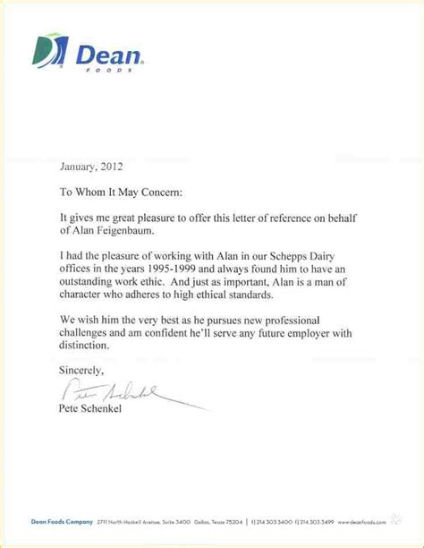 employer letter of recommendation 6 sle employer