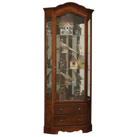 cherry corner curio howard miller phoebe corner curio display 680525