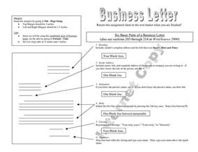 Business Letter Label Parts 18 Best Images Of Parts Of Business Letter Worksheet