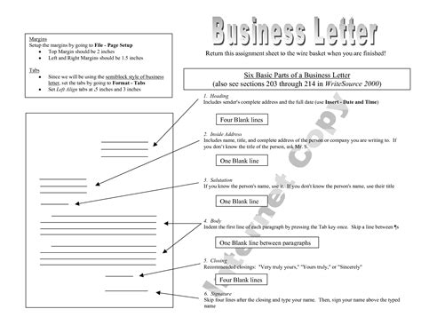 Business Letter And Their Parts 18 best images of parts of business letter worksheet