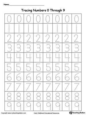 tracing numbers 0 through 9 classroom ideas numbers