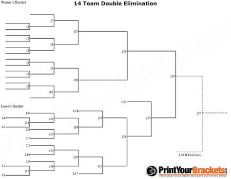 14 Team Double Elimination Printable Tournament Bracket Sports Pinterest Chart And Layouts Baseball Tournament Bracket Template