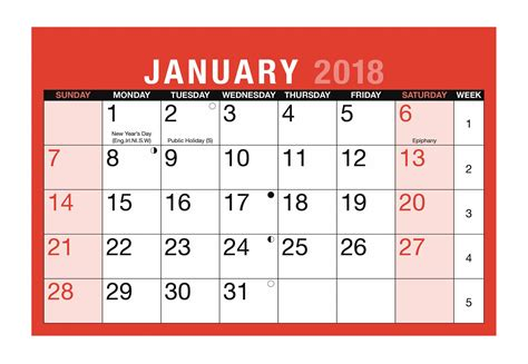 Memo Calendar Template january 2018 calendar template printable templates