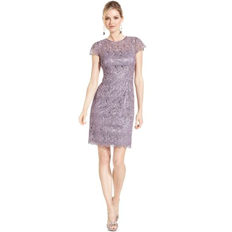 Metallic Dresses by Patra Cap Sleeve Metallic Lace Cocktail Dress In Purple
