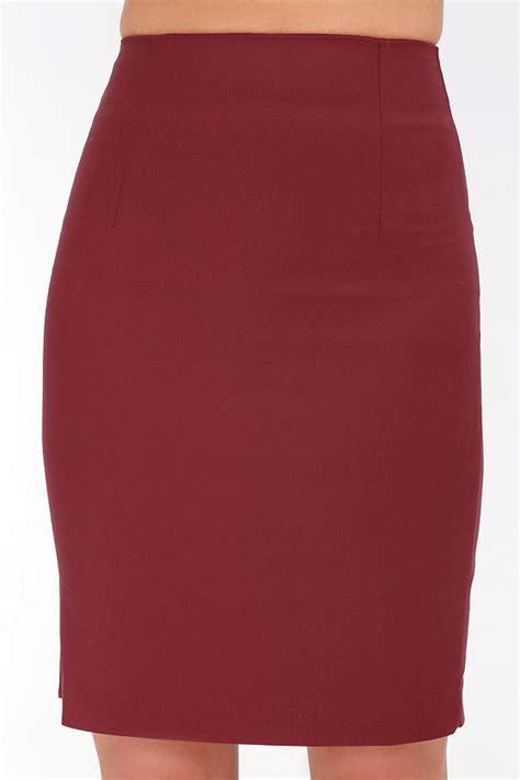 chic wine skirt high waisted skirt midi skirt