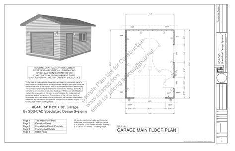 building plans for garage g443 14 x 20 x 10 garage plans blueprints downloadable construction drawings sds plans