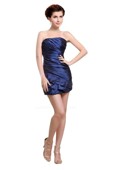shortmini strapless navy blue bridesmaid dresseswedding