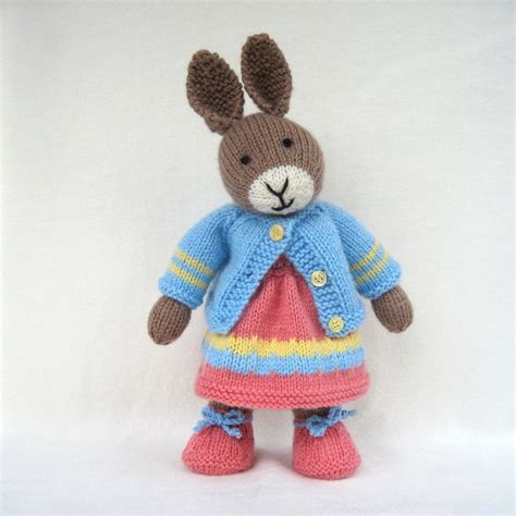 Knitting Pattern Rabbit Toy | mother bunny knitted toy rabbit doll instant download