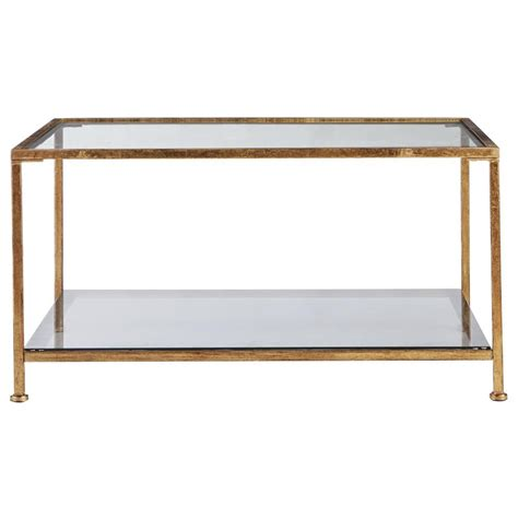 home decorators aged gold square glass coffee table