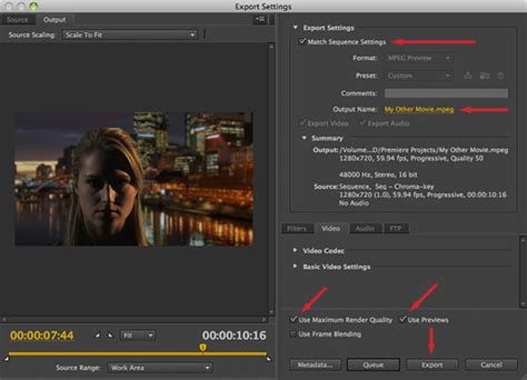 adobe premiere cs6 export settings convert high definition to standard definition video